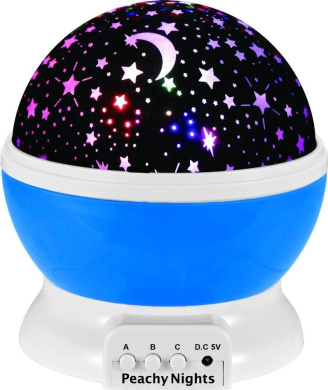 Constellation Night Light Projector Lamp from Peachy Nights offers 4 Bright Colours with 360 Degree Moon Star Projection and Rotation, Easy to Use, Baby Gift, Make Bedtime Fun For Children! (Blue)