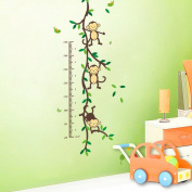 Monkeys playing on trees Height Measure wall stickers for kids rooms Kids Growth Chart wall decal Height Chart Measure