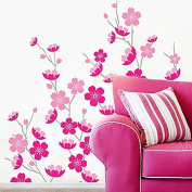 Peaches Blossom Wall Sticker Paper Home Decal Removable Wall Vinyl Living Room Bedroom PVC Art Picture Murals Waterproof DIY Stick for Adults Teens Childres Kids Nursery Baby