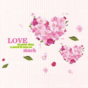 English Letters Love Heart Pink Flowers Wall Sticker Paper Home Decal Removable Wall Vinyl Living Room Bedroom PVC Art Picture Murals Waterproof DIY Stick for Adults Teens Childres Kids Nursery Baby