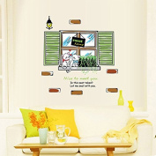 English Letters Window Cat Sweat Home Green Leaves Wall Sticker Paper Home Decal Removable Wall Vinyl Living Room Bedroom PVC Art Picture Murals Waterproof DIY Stick for Adults Teens Childres Kids Nursery Baby