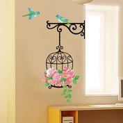 Roses Flowers Birds Cage Wall Sticker Paper Home Decal Removable Wall Vinyl Living Room Bedroom PVC Art Picture Murals Waterproof DIY Stick for Adults Teens Childres Kids Nursery Baby
