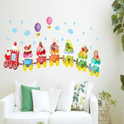 Cute Train Stars Clouds Strawberries Fruits Wall Sticker Paper Home Decal Removable Wall Vinyl Living Room Bedroom PVC Art Picture Murals Waterproof DIY Stick for Adults Teens Childres Kids Nursery Baby