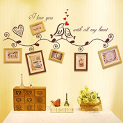 English Letters Birds Leaves Photo Frames Branches Wall Sticker Paper Home Decal Removable Wall Vinyl Living Room Bedroom PVC Art Picture Murals Waterproof DIY Stick for Adults Teens Childres Kids Nursery Baby
