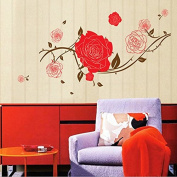 Roses Branches Wall Sticker Paper Home Decal Removable Wall Vinyl Living Room Bedroom PVC Art Picture Murals Waterproof DIY Stick for Adults Teens Childres Kids Nursery Baby