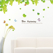 Supper Large Green Leaves Grapes Butterflies English Letters Wall Sticker Paper Home Decal Removable Wall Vinyl Living Room Bedroom PVC Art Picture Murals Waterproof DIY Stick for Adults Teens Childres Kids Nursery Baby