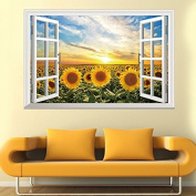 3D Fake Windows Sunflower Sun Wall Sticker Paper Home Decal Removable Wall Vinyl Living Room Bedroom PVC Art Picture Murals Waterproof DIY Stick for Adults Teens Childres Kids Nursery Baby
