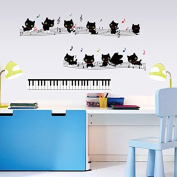 Cats Music Notes Symbols Piano Keys Wall Sticker Paper Home Decal Removable Wall Vinyl Living Room Bedroom PVC Art Picture Murals Waterproof DIY Stick for Adults Teens Childres Kids Nursery Baby
