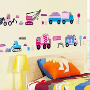 Train Crane Hook Machine Cars Wall Sticker Paper Home Decal Removable Wall Vinyl Living Room Bedroom PVC Art Picture Murals Waterproof DIY Stick for Adults Teens Childres Kids Nursery Baby