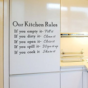 English Letters Our Kitchen Rules Wall Decal Home Sticker PVC Murals Vinyl Paper House Decoration Wallpaper Living Room Bedroom Kitchen Art Picture DIY for Children Teen Senior Adult Nursery Baby
