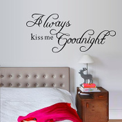 English Letters Always Kiss Me Goodnight Wall Decal Home Sticker PVC Murals Vinyl Paper House Decoration Wallpaper Living Room Bedroom Kitchen Art Picture DIY for Children Teen Senior Adult Nursery Baby