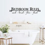English Letters Bathroom Rules Wall Decal Home Sticker PVC Murals Vinyl Paper House Decoration Wallpaper Living Room Bedroom Kitchen Art Picture DIY for Children Teen Senior Adult Nursery Baby