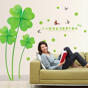 Green Four Leaves Clovers Butterflies English Letters Wall Decal Home Sticker PVC Murals Vinyl Paper House Decoration Wallpaper Living Room Bedroom Kitchen Art Picture DIY for Children Teen Senior Adult Nursery Baby