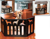Indoor/Outdoor Dog Décor Solid Wood 3 Section Pet Gate - Black