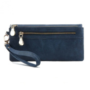 Blue Leather Clutch Purse Wristlet with Double Zipper