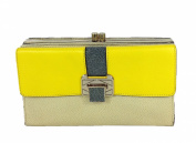 Rebecca Minkoff Collection Coco Two-Tone Leather Clutch, Yellow/Tan