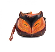Handmade Leather Fox Brown Wristlet Coin Purse