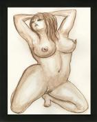 Original Art Boudoir BBW Voluptuous Curvy Woman Erotic Nude Female Watercolour Painting with black wood frame