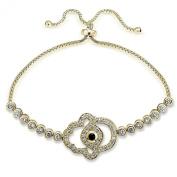 Hoops & Loops Sterling Silver Blue Cubic Zirconia Hamsa Evil Eye Adjustable Bracelet