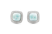 AZIEL White Gold Plated Silver Larimar Small Square Stud Earrings for Women ET036