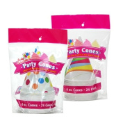 Party Dimensions 24 Count Shaved Ice Paper Cone/Cup, 180ml, Multicolor