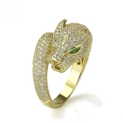 14K Yellow Gold Plated Sterling Silver Puma Design CZ Pave Setting Right Hand Ring 16mm