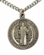 Pewter Saint Benedict Evil Protection Medal with Bright Cut Accents, 2.2cm