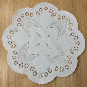 PEPPERLONELY 25cm White French Lace Paper Doilies 50 Count