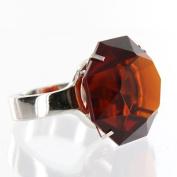 Giant Amber Glass Diamond Ring w/ Silver Band - Napkin Ring