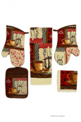 Place Setting Coffee Kitchen 5 Piece Linen Towel Set with Mitts & Pot Holder