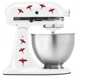 Dragons Flying with Wings Pattern - Vinyl Decal Set for Kitchen Mixers - Burgundy