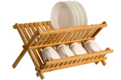 Saganizer wooden dish rack High quality plate rack Collapsible Compact dish drying rack Bamboo dish drainer