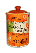 With God and a Strong Cup of Coffee 22cm Ceramic Stoneware Cookie Jar