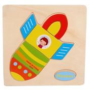 Baby Kids Education Toy, FTXJ Cute Wooden Rocket Cartoon Puzzle Educational Developmental Baby Kids Training Toy