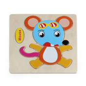 Baby Kids Education Toy, FTXJ Cute Wooden Mouse Puzzle Educational Developmental Baby Kids Training Toy