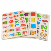 Arshiner 56pcs Wooden Deluxe Classic Peg Puzzle Bundle 3 Alphabet/number/Graph Set Toys