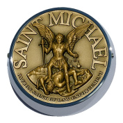 Universal Coin Mount with Saint Michael for Motorcycles, Cars, Trucks, Boats, Bikes, All Vehicles
