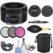 Canon EF 50mm f/1.8 STM Lens with 3pc Filter Kit (UV, CPL, FLD) + Deluxe Lens Pouch + Lens Hood + Deluxe Cleaning Kit + Lens Accessory Bundle for Canon EOS 6D, 70D, 5D MK III, T3i, T5, T5i, SL1