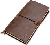 Refillable Leather Notebook by Wanderings - Classic Vintage Style. Perfect for Writing, Sketching, Gifts, Fountain Pen Users, Diary, or Journal