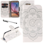 Galaxy S6 Case, Urvoix(TM) Card Holder Stand Leather Wallet Case - White Flower Flip Cover for G920 for Samsung Galaxy S6