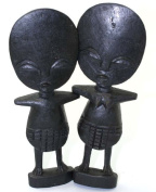 2 Wooden Wood African Fertility Dolls Male and Female - Large Size 20cm Tall