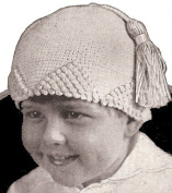 Vintage Crochet PATTERN to make - Antique Crochet Baby Child's Snow Hat Beanie Popcorn Crochet. NOT a finished item. This is a pattern and/or instructions to make the item only.