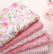5pcs/lot 40cm x 50cm Pink 100% Cotton Fabric For Sewing Fat Quarter Quilting Patchwork Tissue Tilda Doll Cloth Kids Bedding Textile