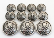 YCEE Premium New 11 Pieces Silver Vintage Metal Blazer Button Set - Skull - For Blazer, Suits, Sport Coat, Uniform, Jacket