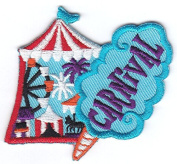 """CARNIVAL"" PATCH w/CAROUSEL & CONE/Iron On Embroidered Patch/Amusement,Fun,Games"
