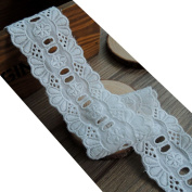 14 yards 2.5cm - 2.2cm Wide White Eyelet Cotton Embroidered Lace Trim Cotton Ribbon Tape For Garment Home Decor DIY Craft Supply
