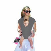 HuggyHug Baby Wrap Loop Style Carrier, No Wrapping Involved, Elegant Warm Grey, Small