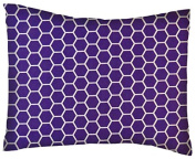 SheetWorld Crib / Toddler Percale Baby Pillow Case - Purple Honeycomb - Made In USA