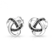 Bling Jewellery Sterling Silver Black Simulated Onyx Cubic Zirconia Love Knot Studs