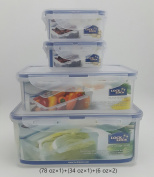 Lock & Lock Plastic Food Storage Airtight Container Set (2300ml/78oz+1000ml/34oz+